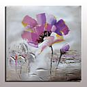 abordables Óleos-Pintura al óleo pintada a colgar Pintada a mano - Abstracto Floral / Botánico Modern Con Marco