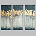 cheap Oil Paintings-Oil Painting Hand Painted - Abstract Modern / European Style With Stretched Frame / Three Panels / Stretched Canvas