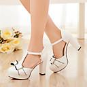 رخيصةأون أحذية نسائية-نسائي جلد الصيف كعوب كعب متوسط عقدة أبيض / زهري / أزرق فاتح