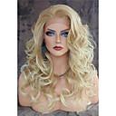 billige Syntetiske blondeparykker-Syntetisk Lace Front Parykker Krop Bølge Blond Syntetisk hår Varme resistent / Natural Hairline / Side del Blond Paryk Dame Lang Blonde Front
