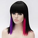 billige Syntetiske parykker uten hette-Syntetiske parykker Rett / Yaki Asymmetrisk frisyre Syntetisk hår Naturlig hårlinje Rød / Svart Parykk Dame Mellemlængde Lokkløs Svart / Rød