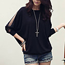 cheap Jewelry Sets-Women's Plus Size Batwing Sleeve Cotton Loose Blouse - Solid Colored
