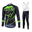 cheap Running Shirts, Pants & Shorts-Fastcute Men's Women's Long Sleeves Cycling Jersey - Black Bike Clothing Suits, 3D Pad, Thermal / Warm, Quick Dry, Fleece Lining,