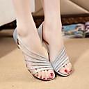 baratos Sandálias Femininas-Mulheres Sapatos Couro Ecológico Verão Conforto Sandálias Caminhada Sem Salto Prata / Roxo / Dourado