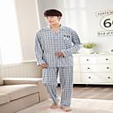 voordelige Synthetische kaploze pruiken-Heren Ronde hals Kostuum Pyjama - Ruitjes, Print