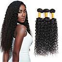 זול תוספות שיער בגוון טבעי-3 חבילות עם סגירה שיער ברזיאלי מתולתל / Kinky Curly שיער אנושי שיער Weft עם סגירה שוזרת שיער אנושי תוספות שיער אדם / קינקי קרלי