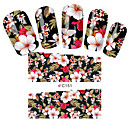 billige Heldækkende negleklistermærker-1 pcs Vandoverførings klistermærke Negle kunst Manicure Pedicure Blomst / Mode Daglig