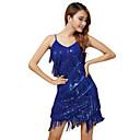 זול הלבשה לריקודים לטיניים-הופעה שמלות בגדי ריקוד נשים הצגה פוליאסטר פרנזים / Paillette ללא שרוולים שמלה / לטיני