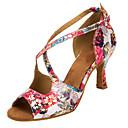 abordables Zapatos de Baile Latino-Mujer Zapatos de Baile Latino / Zapatos de Salsa Satén Sandalia / Tacones Alto Hebilla / Flor Tacón Personalizado Personalizables Zapatos
