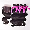 voordelige Bruiloftskousenbanden-Peruaans haar Body Golf Haar Weft met Sluiting Menselijk haar weeft Hot Sale Zwart Extensions van echt haar