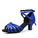 cheap Women's Sandals-Women's Latin Shoes / Ballroom Shoes Satin Heel Chunky Heel Non Customizable Dance Shoes Black / Red / Royal Blue / Leather