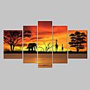 זול ציורי נוף-ציור שמן צבוע-Hang מצויר ביד - מופשט קלסי מסורתי ציור בלבד / חמישה פנלים
