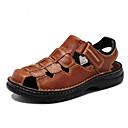cheap Men's Slippers & Flip-Flops-Men's Shoes Leather Summer Sandals For Casual Black Brown