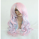 cheap Synthetic Lace Wigs-high quality blue mix pink 70cm long wavy halloween synthetic cosplay lolita wig Halloween