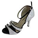 رخيصةأون أحذية لاتيني-للمرأة أحذية رقص / أحذية سالسا بريّق صندل كعب مخصص مخصص أحذية الرقص فضي / داخلي / أداء / تمرين / متخصص