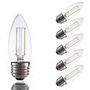 abordables Bombillas LED-GMY® 6pcs 2 W 200 lm E26 / E27 Bombillas de Filamento LED 2 Cuentas LED COB Regulable Blanco Cálido / 6 piezas