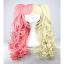 cheap Nintendo Switch Accessories-famous yellow and pink colorful lolita long curly two braids cosplay lolita wig Halloween