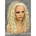 billiga Syntetiska peruker utan hätta-Syntetiska peruker Dam Lockigt Syntetiskt hår Naturlig hårlinje Peruk Spetsfront Blond Grå