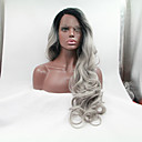 cheap Synthetic Capless Wigs-sylvia synthetic lace front wig black roots grey hair heat resistant long wavy natural look synthetic wigs