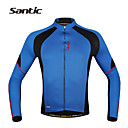 abordables Auriculares-SANTIC Hombre Manga Larga Maillot de Ciclismo - Azul Bicicleta Camiseta / Maillot / Chaqueta, Secado rápido, Resistente a los UV,