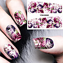 cheap Nail Stickers-1 sheet diy decals nails art water transfer printing stickers accessories for manicure salon yzw 8068