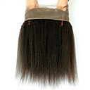 baratos Fechamento & Frontal-Cabelo Indiano 360 frontal Liso / Kinky Liso Parte gratuito Tela Francesa Cabelo Humano Com Baby Hair