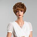 baratos Perucas de Cabelo Humano Sem Touca-Perucas de cabelo capless do cabelo humano Cabelo Humano Encaracolado Com Franjas Curto Peruca Mulheres