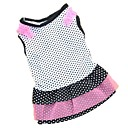 cheap Dog Clothes-Cat Dog Dress Dog Clothes Polka Dot White Black Rose Cotton Costume For Pets Women's Casual/Daily Fashion