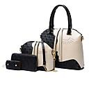 זול סטים של תיקים-בגדי ריקוד נשים שקיות עור סטי תיק 4 Pcs ערכת הארנק לבן / שחור / תיקי שק