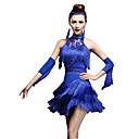 baratos Roupas de Dança Latina-Dança Latina Vestidos / Shorts Mulheres Espetáculo Fibra Sintética / Náilon Chinês Mocassim / Cristal / Strass Sem Manga Alto Vestido / Luvas