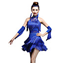 abordables Ropa para Baile Latino-Baile Latino Vestidos / Pantalones Cortos Mujer Rendimiento Nailon / Chinlon Borla / Cristales / Rhinestones Sin Mangas Cintura Alta Vestido / Guantes / Danza Latina