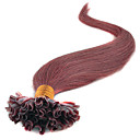 cheap Hair Braids-Febay Fusion / U Tip Human Hair Extensions Straight Human Hair Burgundy Blue Medium Brown