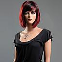 Χαμηλού Κόστους Συνθετικές περούκες χωρίς σκουφί-Συνθετικές Περούκες Ίσιο Κούρεμα καρέ / Με αφέλειες Συνθετικά μαλλιά Μαλλιά μπαλαγιάζ Κόκκινο Περούκα Γυναικεία Κοντό Χωρίς κάλυμμα Κόκκινο