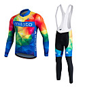 cheap Running Shirts, Pants & Shorts-Miloto Men's Long Sleeves Cycling Jersey - White Bike Clothing Suits, 3D Pad, Thermal / Warm, Quick Dry, Fleece Lining, Breathable,