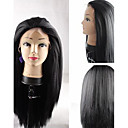 cheap Human Hair Wigs-Synthetic Wig Straight / Yaki Synthetic Hair Black Wig Lace Front / Capless / Yes