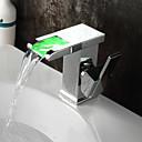 cheap Bathroom Sink Faucets-Bathroom Sink Faucet - Waterfall / LED Chrome Centerset Single Handle One Hole