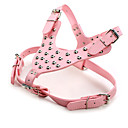 cheap Dog Clothes-Dog Harness Adjustable / Retractable Handmade Studded Solid PU Leather Black Brown Pink