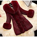 preiswerte Synthetische Perücken ohne Kappe-Frauen täglich ausgehen Winter Herbst langen Pelz, solide Turndown Kunstpelz Kunstleder Pelzbesatz