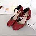 preiswerte Damen Ballerinas-Damen Schuhe PU Herbst Komfort Sandalen Quadratischer Zeh Schwarz / Rot / Grün