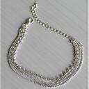 preiswerte Körperschmuck-Mehrschichtig Fusskettchen - versilbert, Diamantimitate Europäisch, Modisch, Mehrlagig Silber Für Alltag Normal Damen