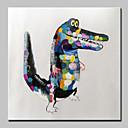 baratos Quadros com Moldura-pintado à mão moderno crocodilo abstrato pintura a óleo de animais em tela de parede imagem de arte pronto para pendurar