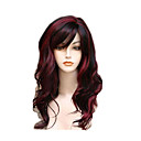 cheap Synthetic Capless Wigs-Synthetic Wig Wavy Red With Bangs Red Synthetic Hair Women's Highlighted / Balayage Hair / Side Part Red Wig Long Capless