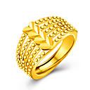 رخيصةأون حلقات الأذن-للمرأة خاتم البيان - مطلية بالذهب عيار 18, مطلية بالذهب قلب, الحب مخصص, ترف قياس واحد ذهبي من أجل زفاف / حزب / هدية