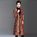 cheap Synthetic Lace Wigs-Women's Chinoiserie Maxi Coat - Floral Deep V