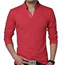abordables Joyería para Hombre-Hombre Activo Tallas Grandes Algodón Camiseta, Escote Chino Un Color / Manga Larga