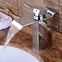 Недорогие Для умывальника-Ванная раковина кран - Вытяжной смеситель / Водопад / Широко распространенный Хром По центру Одной ручкой одно отверстиеBath Taps