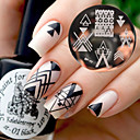 cheap Nail Stamping-born pretty bp77 nail art image stamping plates geometry negative space design