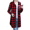 baratos Strass & Decorações-Mulheres Tamanhos Grandes Camisa Social Xadrez Colarinho de Camisa Solto