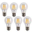 cheap LED Filament Bulbs-KWB 6pcs 600lm E26 / E27 LED Filament Bulbs A60(A19) 6 LED Beads COB Decorative Warm White Cold White 220-240V