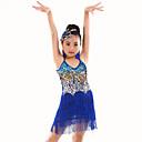 abordables Ropa de Baile para Niños-Danza del Vientre Leotardos Rendimiento Poliéster Lentejuela / Borla Sin Mangas Cintura Media Leotardo / Pijama Mono